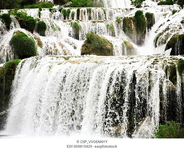 cascade of waterfall in Kornati region, Dalmatia