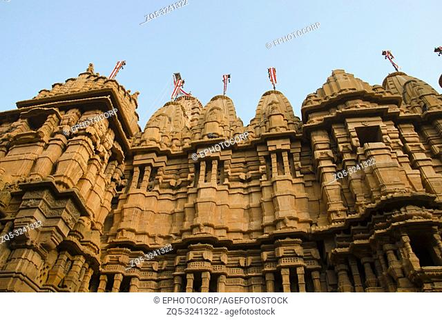 Beautifully carved outer wall of the Jain Temple, situated in the fort complex, Jaisalmer, Rajasthan, India