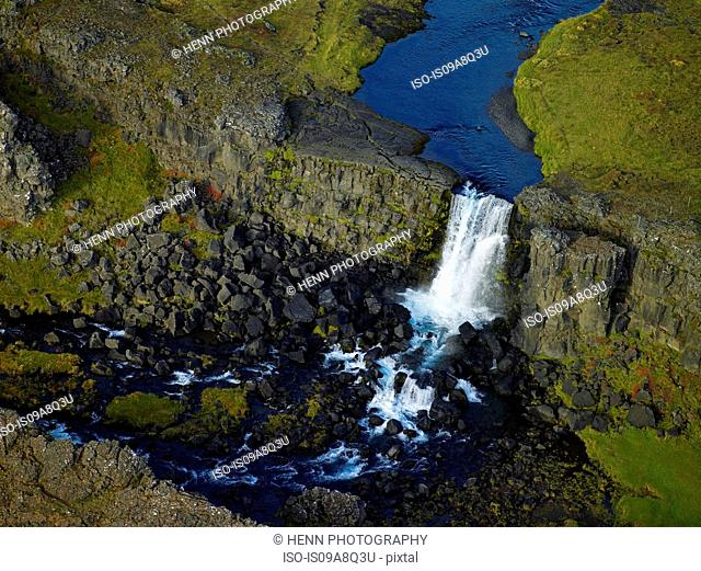 Aerial view of Oxarafoss waterfall, Thingvellir National Park, Iceland