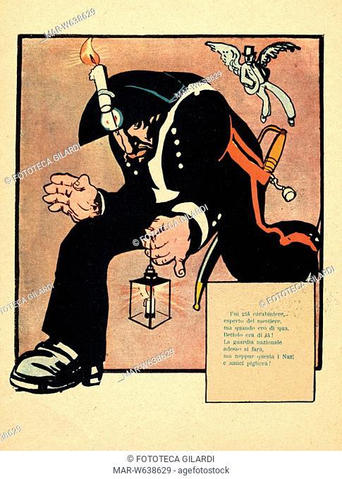 Giovanni GIOLITTI (1842-1928) Caricatura di Giolitti 'Guardiano Nazionale' illustrazione di Rata Langa pseudonimo di Gabriele Galantara
