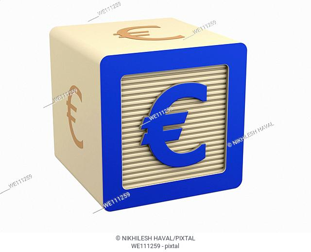 toy wooden block euro currency symbol sign