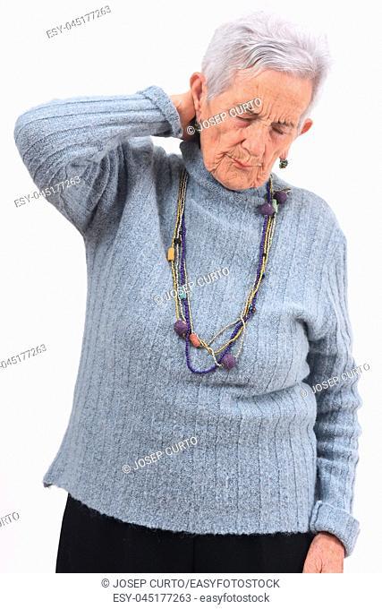 senior woman pain on nape on white background