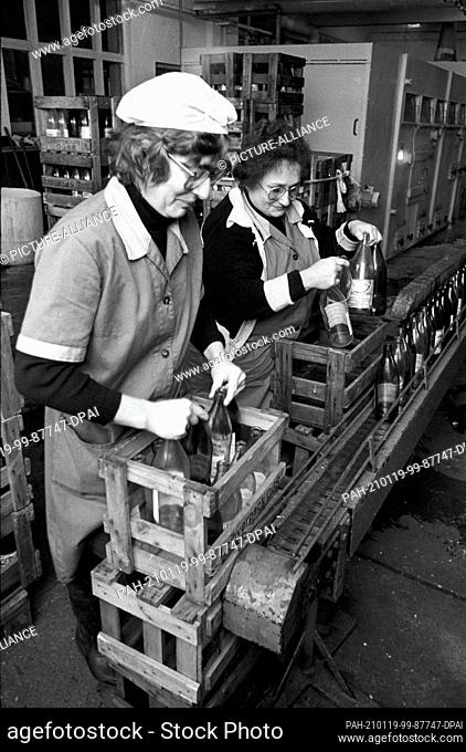 15 October 1983, Saxony, Delitzsch: Fruit from horticultural farms and the fruit production of the LPG are processed into fruit juice in the Kyhna cider factory...