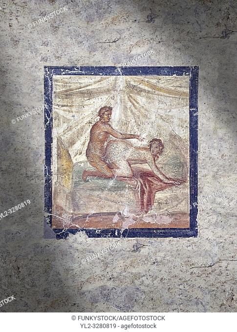 Roman Erotic Fresco from Pompeii depicting sexual activities, Naples National Archaeological Museum - from a private house venereum, 50-79 AD , , inv no 27696