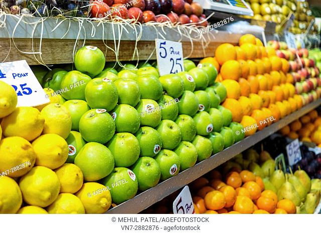 Fresh fruit on sale at Central Market, Port Luis, Mauritius, Africa