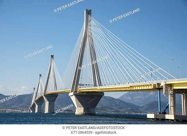 The Rio - Antirrio bridge, near Patras, linking the Peloponnese with mainland Greece accross the Gulf of Korinth
