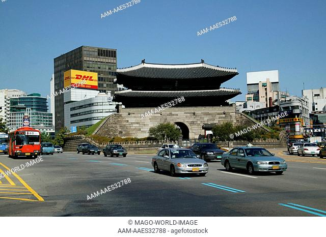 Republic of Korea, Seoul, Sungnyemun was the main gate in the fortress wall of ancient Seoul. It is also known as Namdaemun, Great South Gate. 2004