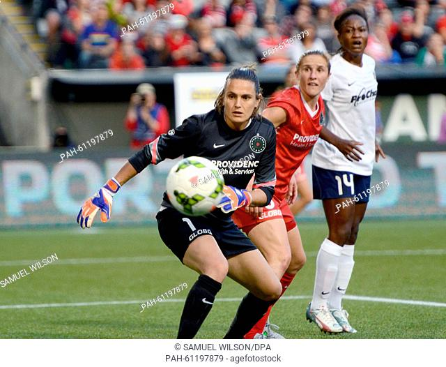 Portland Thorns goalkeeper Nadine Angerer (L) in action during her last home match of the season of the Portland Thorns against the Washington Spirit of the...