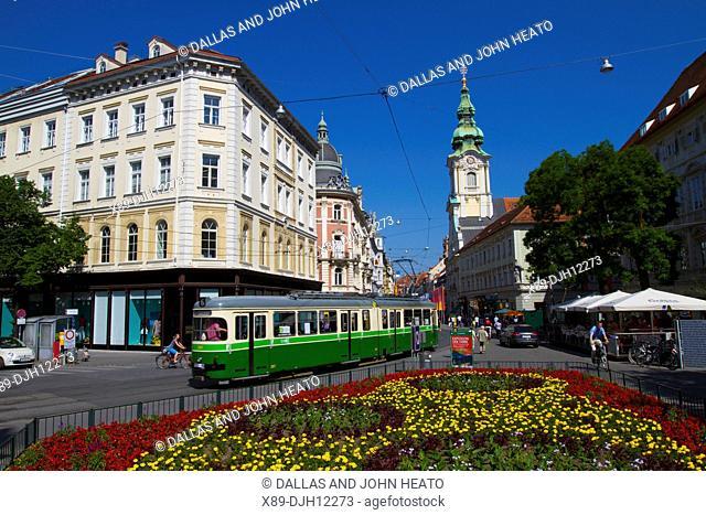 Austria, Styria, Graz, Herrengasse, Stadtpfarrkirche, City Parish Church, Flower Garden, Tram