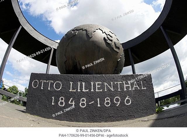 'Otto Lilienthal' is written on the base of a globe on Fliegeberg hill in the Lilienthalpark in the district of Lichterfelde in Berlin, Germany, 26 June 2017
