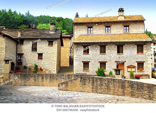 Santa Cruz Seros square Pyreness village stone houses Huesca Spain