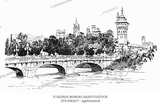 1890: Cardiff Bridge (also known locally as Canton Bridge) is the road bridge crossing the River Taff at the approximate site of the original river crossing
