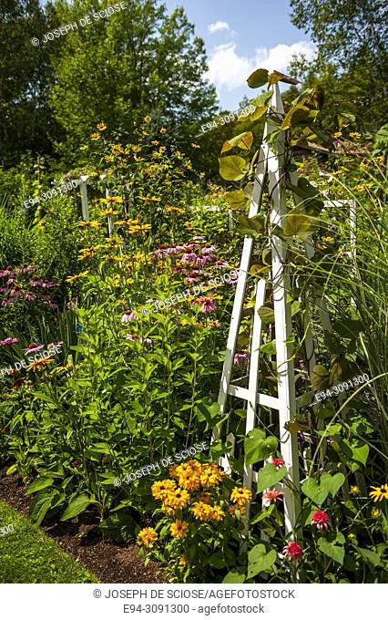 A white obelisk in a garden bed of perennial and annual plants, Nova Scotia, Canada