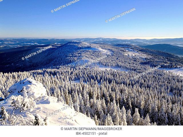 Mittagsplatzl, View Great Arber, Natural Preserve Bavarian Forest, Lower Bavaria, Bavaria, Germany