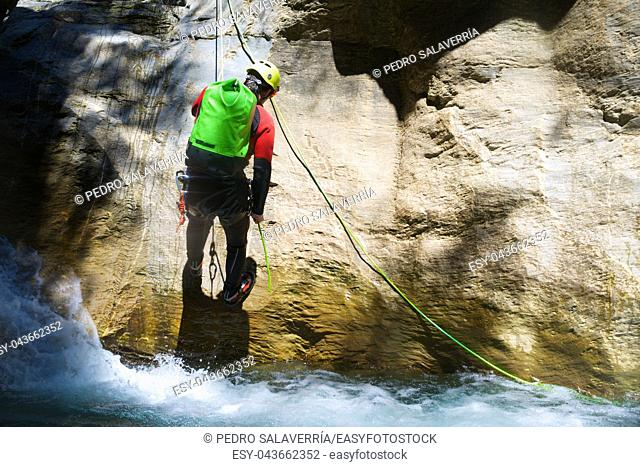 Canyoning in Gorgol Canyon in Pyrenees, Huesca Province, Aragon in Spain