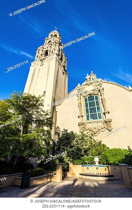 Museum of Man building and the California Tower. Balboa Park, San Diego,California, United States