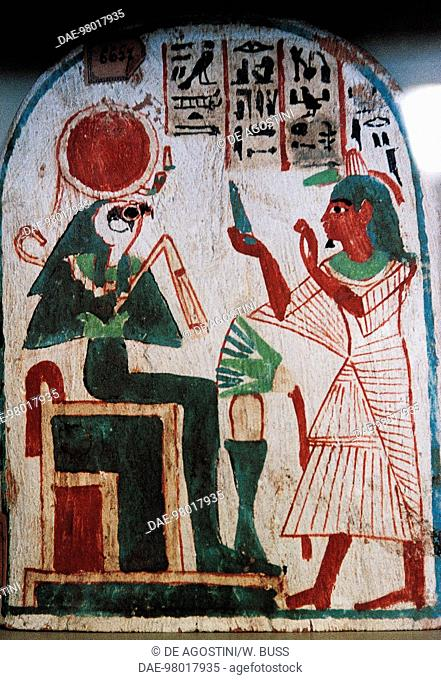 Stele depicting an offerings bearer and Ra-Harakhte. Egyptian civilisation, New Kingdom.  Cairo, Egyptian Museum