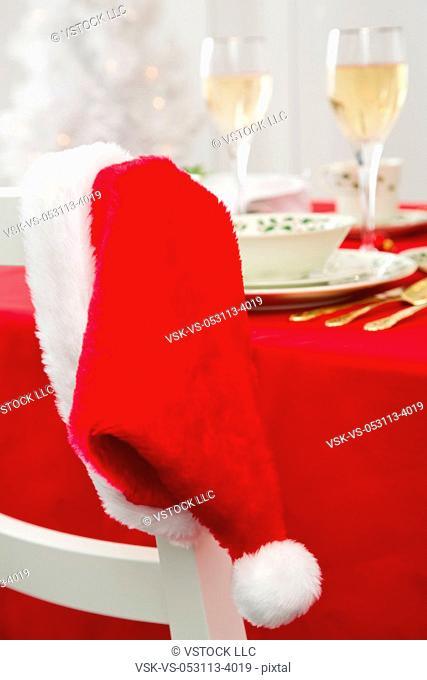 Santa hat and Christmas table