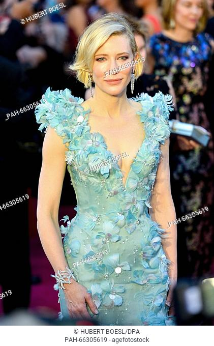 Actress Cate Blanchett arrives for the 88th annual Academy Awards ceremony at the Dolby Theatre in Hollywood, California, USA, 28 February 2016