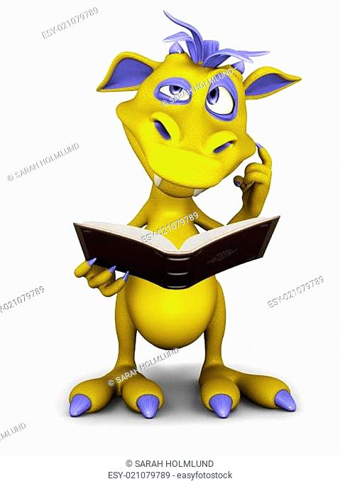 Cute cartoon monster thinking about something while reading