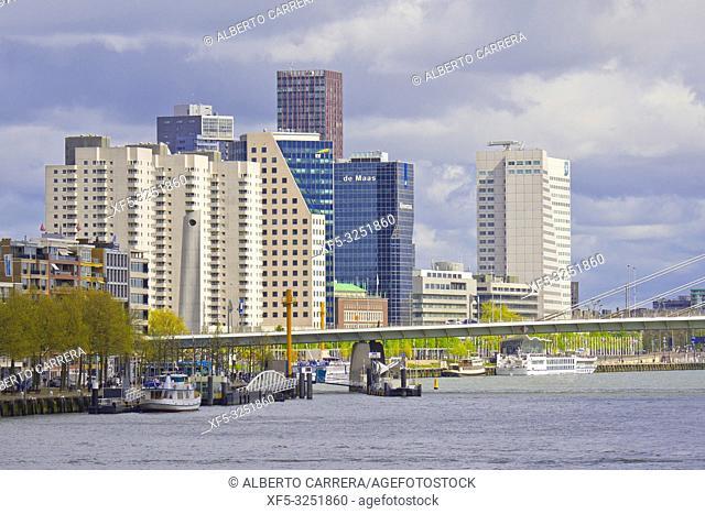 Nieuwe Maas River, Modern Architecture, Rotterdam, Holland, Netherlands, Europe