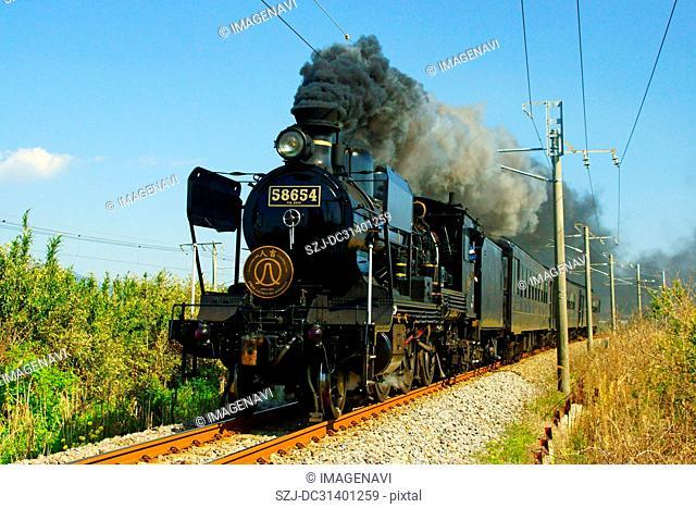 SL Hitoyoshi (Steam locomotive) running on Kagoshima Main Line