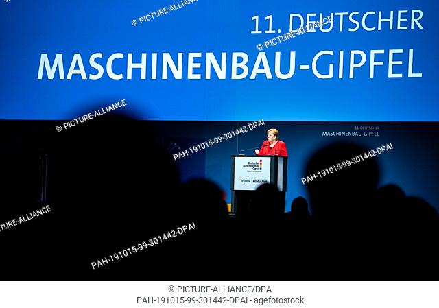 15 October 2019, Berlin: Chancellor Angela Merkel (CDU) speaks at the 11th German Mechanical Engineering Summit of the German Engineering Federation (VDMA)