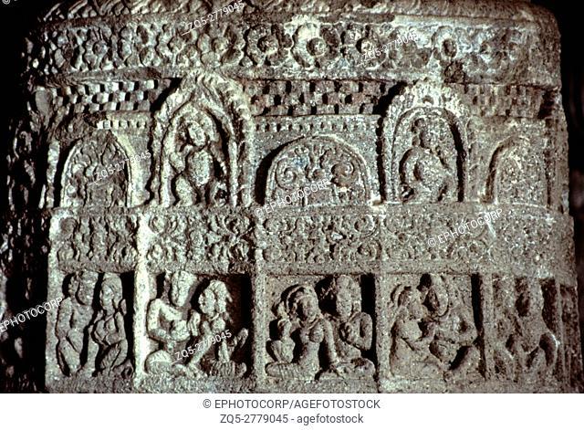 Aurangabad (India) Cave 3 hall pillar shaft detail with lovers 5th century A. D