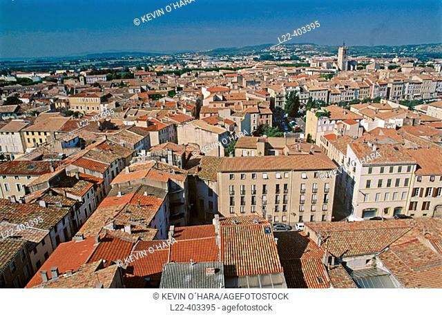 Old town and Canal de la Robine as seen from Donjon Gilles Aycelin. Narbonne. Aude. Languedoc Roussillon. France