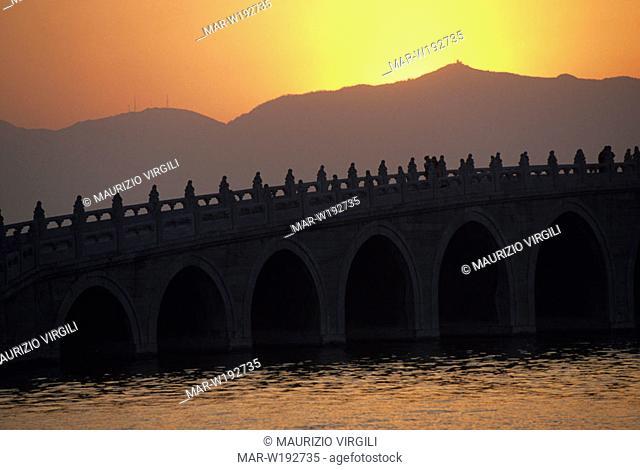 asia, china, seventeen arch bridge, kunming lake