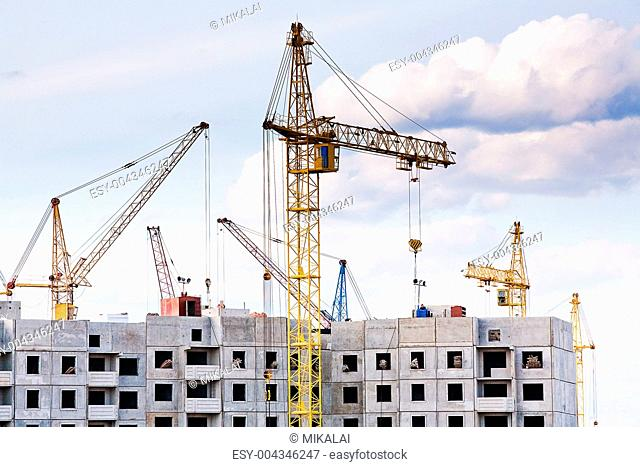 The construction of several large residential apartment building