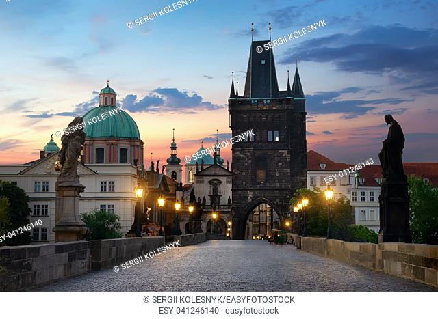 Charles Bridge in Prague at dawn. Czech Republic