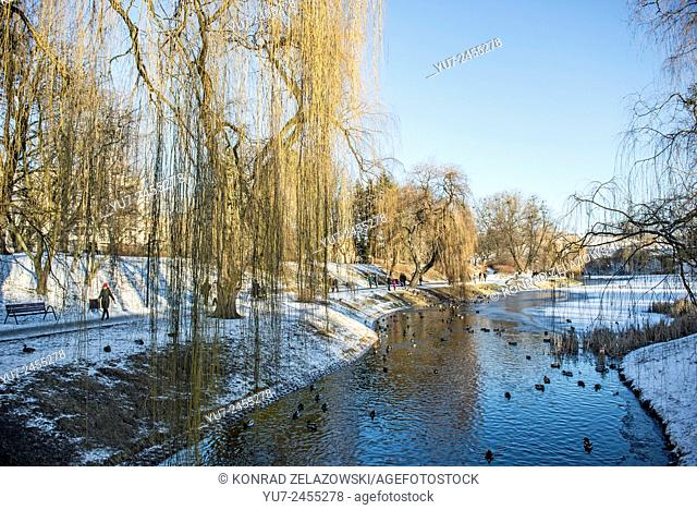Winter time in Moczydlo Park, Wola District in Warsaw, Poland