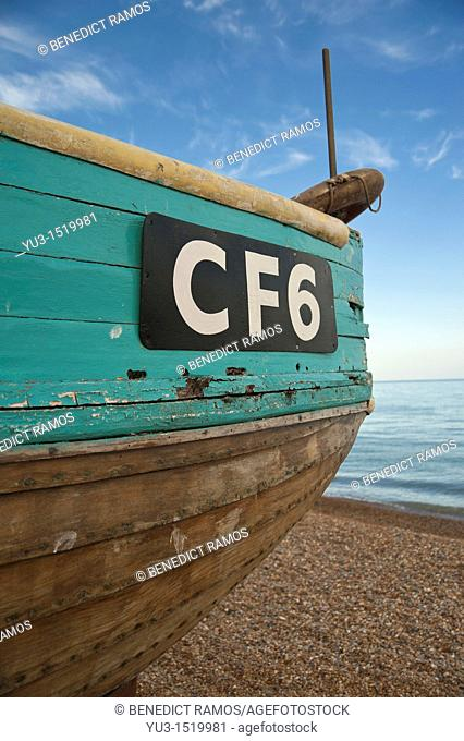 Detail of wooden fishing boat on the beach, known as the Stade, at Hastings, East Sussex, England, UK