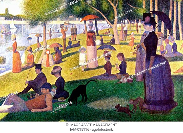 Sunday Afternoon on la Grande Jatte' 1884. Oil on canvas. by Georges Seurat 1859-1891 French Post-Impressionist painter. Parisians enjoying a summer afternoon...