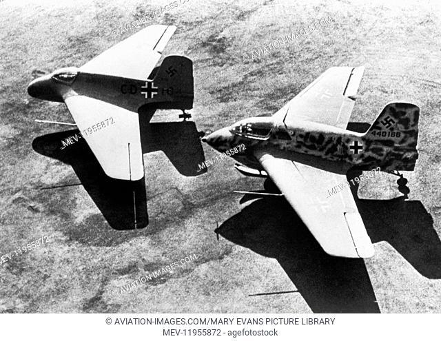 Two Luftwaffe Messerschmitt Me-163 Komets Parked
