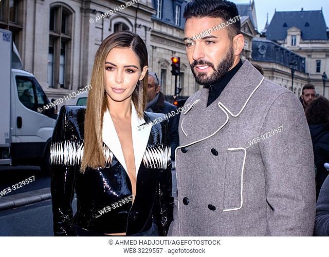 PARIS, FRANCE - January 23 : Nabilla Benattia and Thomas Vergara attend the Jean Paul Gaultier Haute Couture Spring Summer 2019 show as part of Paris Fashion...