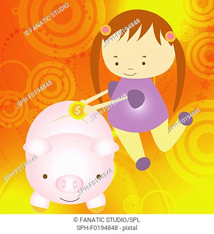 Girl putting a coin into a piggy bank, illustration