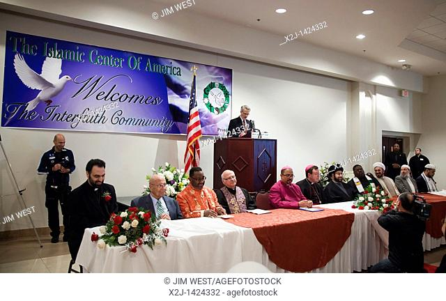 Dearborn, Michigan - Religious leaders from Muslim, Christian, and Jewish faiths led a prayer service and vigil at the Islamic Center of America in opposition...