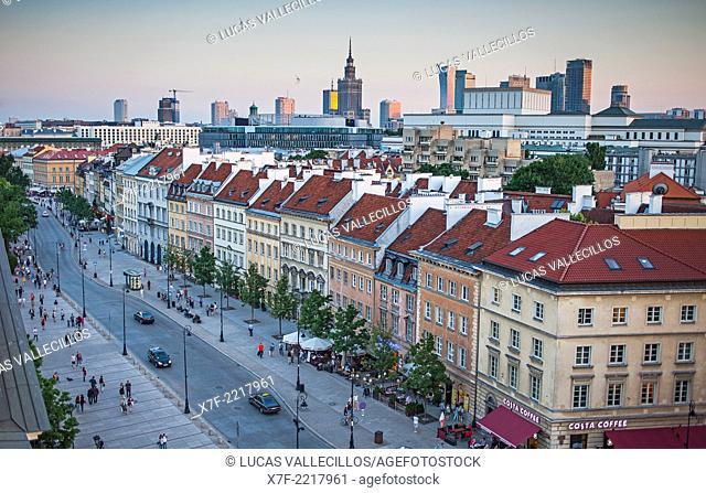 Krakowskie Przedmiescie street and skyline, Warsaw, Poland