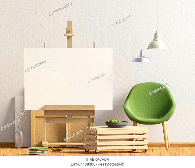 Modern interior design in Scandinavian style with chair and easel. Mock up poster. 3D illustration