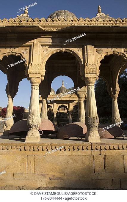 Giant woks in the Badal Palace courtyard, Jaisalmer, Rajasthan, India