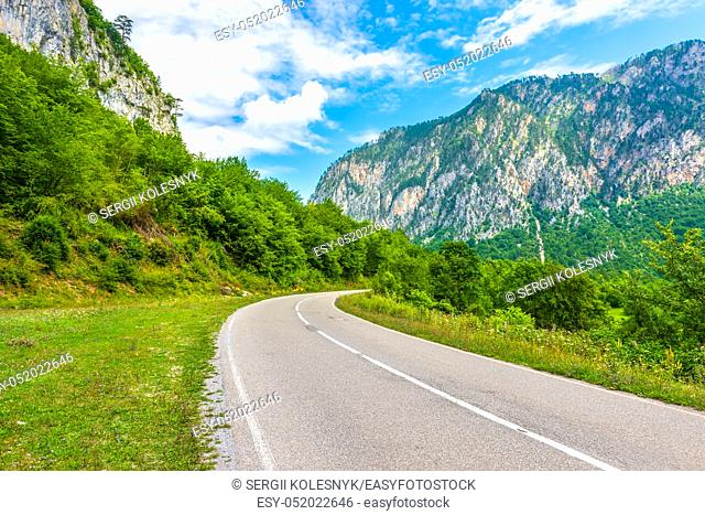Highway in the mountains of Montenegro in the afternoon