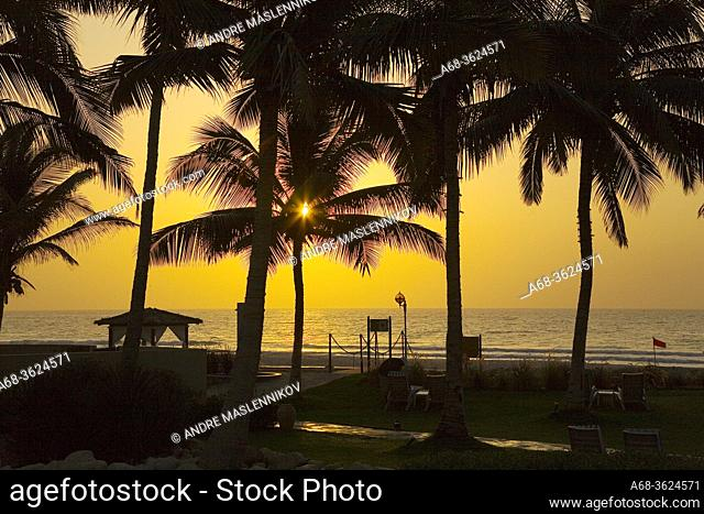 Sunrise over Indian Ocean at Hilton hotel in Salalah. Oman.