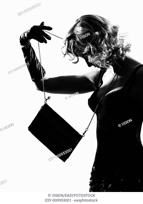 stylish silhouette caucasian beautiful woman sexy attitude behavior clothes full length on studio isolated white background