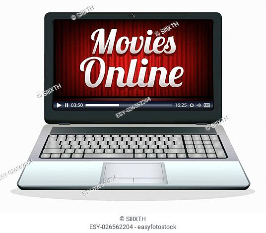 laptop with movies online on a screen