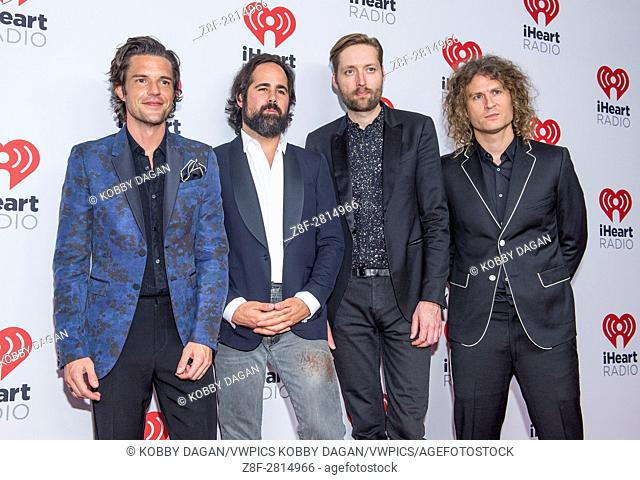 L-R) Brandon Flowers, Ronnie Vannucci, Jr. , Mark Stoermer and Dave Keuning of The Killers attends the 2015 iHeartRadio Music Festival in Las Vegas