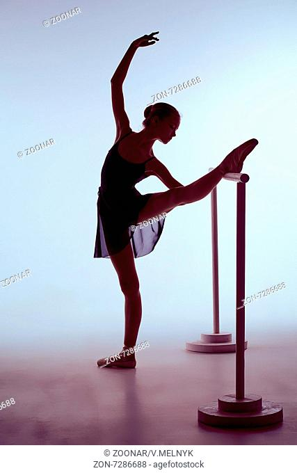 Ballerina stretching on the bar