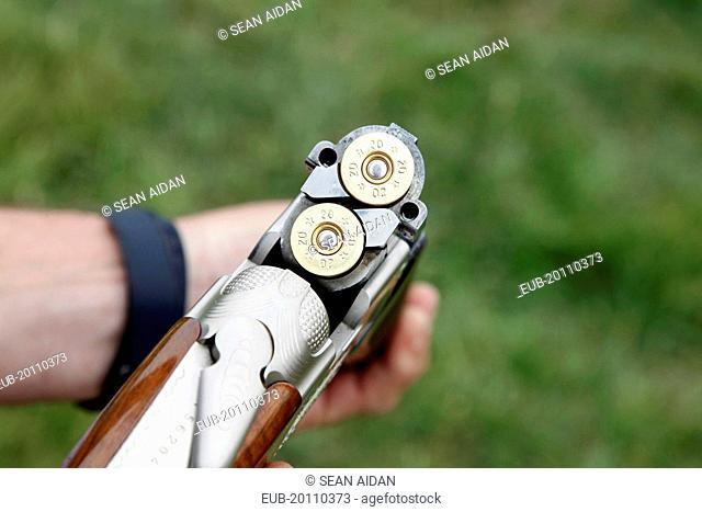 Close up of shotgun barrels with cartirdges