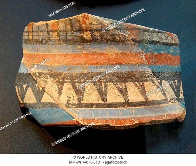 18th Dynasty (Tutankhamun) ceramic fragments decorated with patterns circa 1350 BC